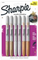 Sharpie 1829201 Metallic Fine Point Permanent Marker, Assorted Colors, 6-Pack