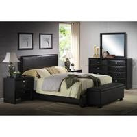 $139.98 Ireland Queen Faux Leather Bed, Black