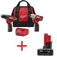 $99Milwaukee M12 12-Volt Lithium-Ion Cordless Drill Driver/Impact Driver Combo Kit (2-Tool)