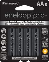 $29.87 Panasonic BK-3HCCA8BA Eneloop Pro AA High Capacity Ni-MH Pre-Charged Rechargeable Batteries, 8-Pack