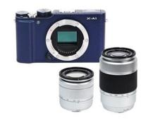 Fujifilm X-A1 Mirrorless Digital Camera (Blue Body) with 16-50mm Silver and XC 50-230mm F4.5-6.7 OIS Silver Lenses