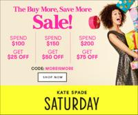 Up To $75 OffBuy More, Save More Sale @ Kate Spade Saturday