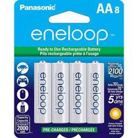 "8 Pack Of Panasonic Eneloop ""AA"" 2100 mAh Rechargeable Ni-MH Battery"