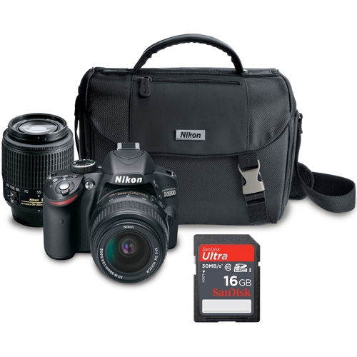 $317 Nikon D3200 DSLR  with 18-55 and 55-200mm Lens (FREE SanDisk 16GB SD Card and DSLR Case)