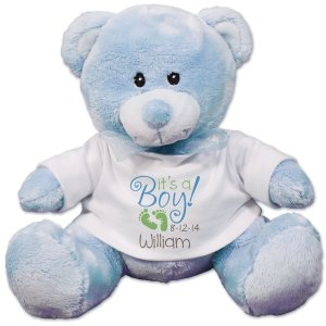"""$14.98 Personalized New Baby Blue Teddy Bear - 8"""", Blue or Pink"""