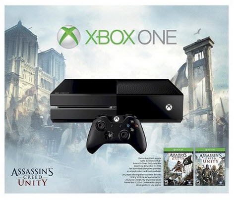 $349.99 + $70 Gift Card Xbox One 500GB Console Bundle with Assassin's Creed Unity and Black Flag