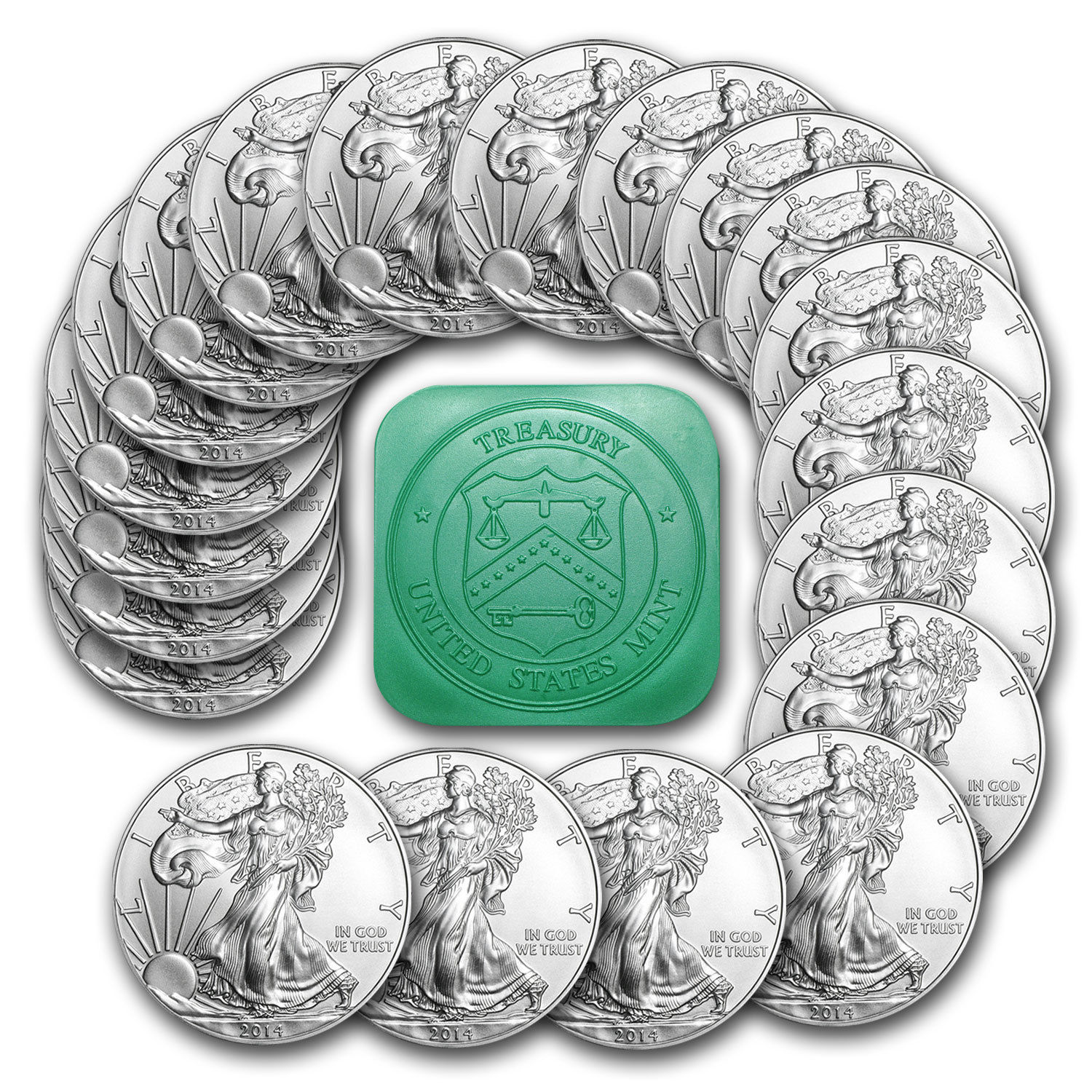 $379.99 + Free Shipping 2014 1 oz Silver American Eagle Coin Lots of 20 Coins SKU #79747
