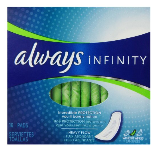 $2.09 Always Infinity Heavy Flow Without Wings 16 ct.