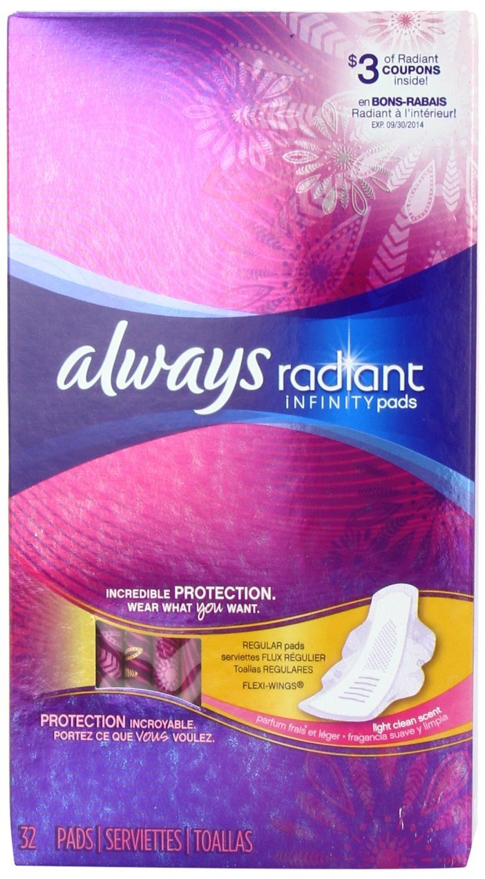 $4.6 Always Radiant Infinity Regular With Wings Scented Pads 32 Count