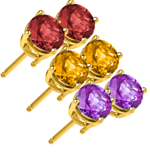 10K Gold Gemstone Studs $26 Each Plus Free Shipping
