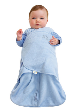 HALO SleepSack Micro-Fleece Swaddle,Baby Blue,Small