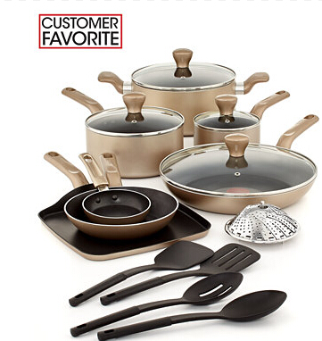 $84.99 T-Fal Culinaire Champagne 16 Piece Cookware Set