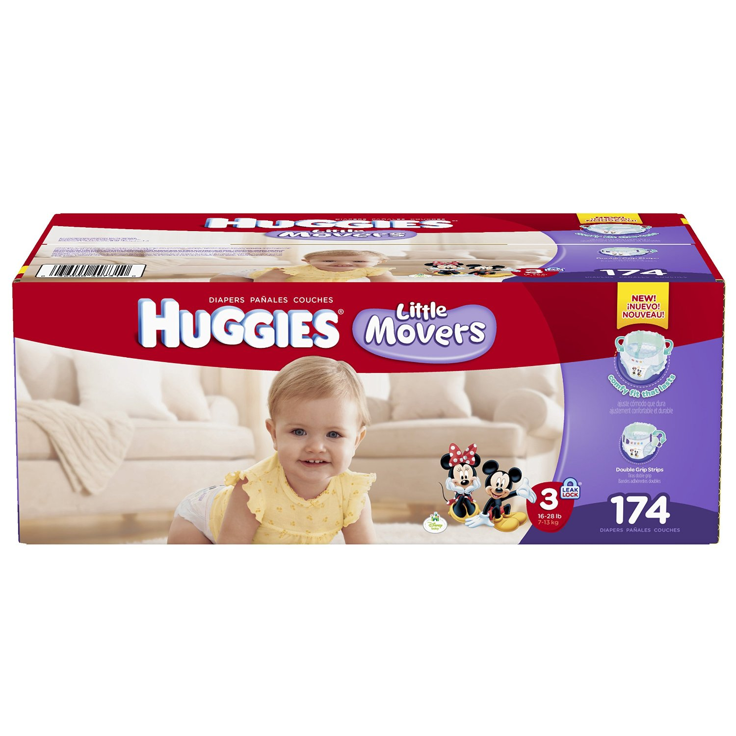 $31.99 Huggies Little Movers Diapers, Size 3, 174 Count