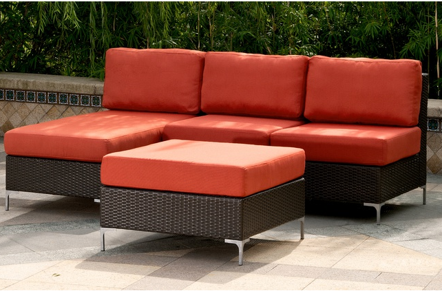 $499.99 Napa Springs 3-Piece Indoor-Outdoor Resin-Wicker Sectional Set in Tulip Red