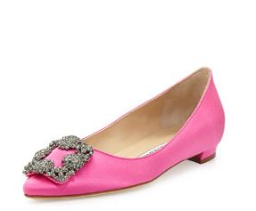 Up to $300 Gift Card with Manolo Blahnik Hangisi Crystal-Buckle Flat Purchase @ Bergdorf Goodman