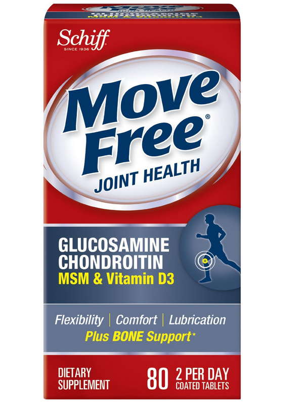 $11.99 Move Free Glucosamine Chondroitin MSM Vitamin D3 and Hyaluronic Acid Joint Supplement, 80 Count