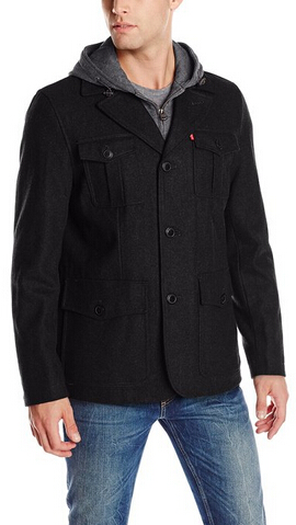 Levi's Men's Wool-Blend Four-Pocket Field Jacket with Fleece Bib and Hood