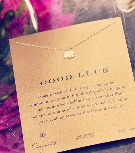 "$53.69 Dogeared Reminder ""Good Luck"" Gold-Plated Sterling Silver Elephant Pendant Necklace, 16"""