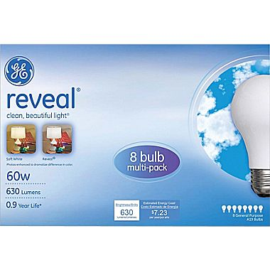 $1.99 GE reveal 60 Watt A19 Incandescent Light Bulb, 8/Pack