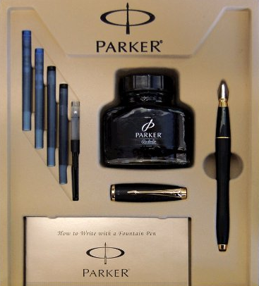 $33.99 Parker Urban Fountain Pen, Medium Point, Black with Gold Trim Kit with 4 Ink Cartridges