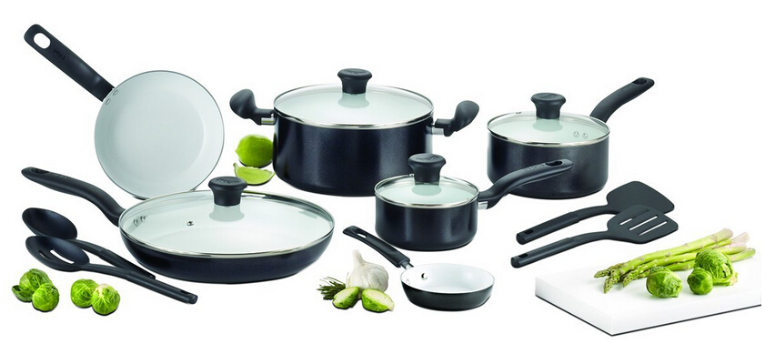 T-fal C924SG Initiatives Ceramic Nonstick Cookware Set, 16-Piece