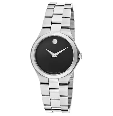 Movado Women's Black Dial Stainless Steel Watch, 606558