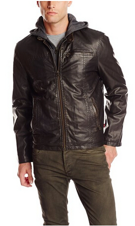 $69.99 Levi's Men's Big-Tall Faux Leather Hoody Racer Jacket