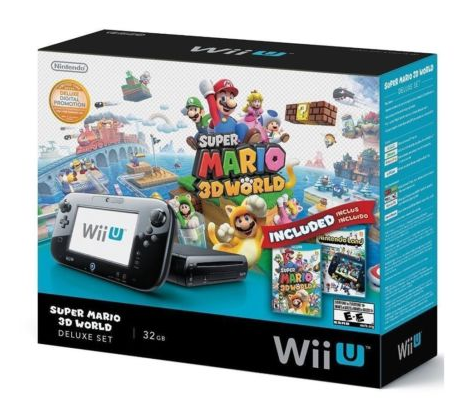 Wii U 32GB Black Deluxe Set w/ Super Mario 3D World & Nintendo Land