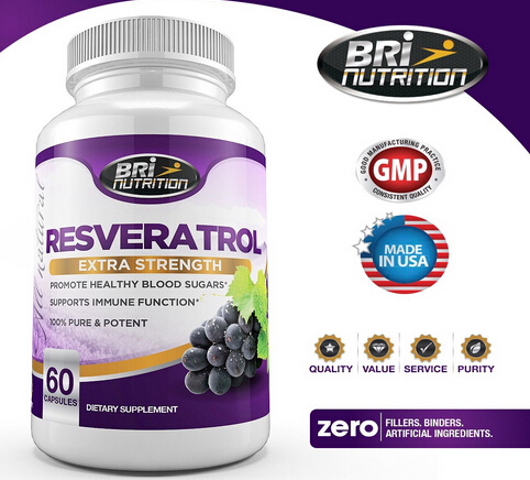 $22.69 BRI Nutrition  Resveratrol 1200mg Maximum Strength Supplement