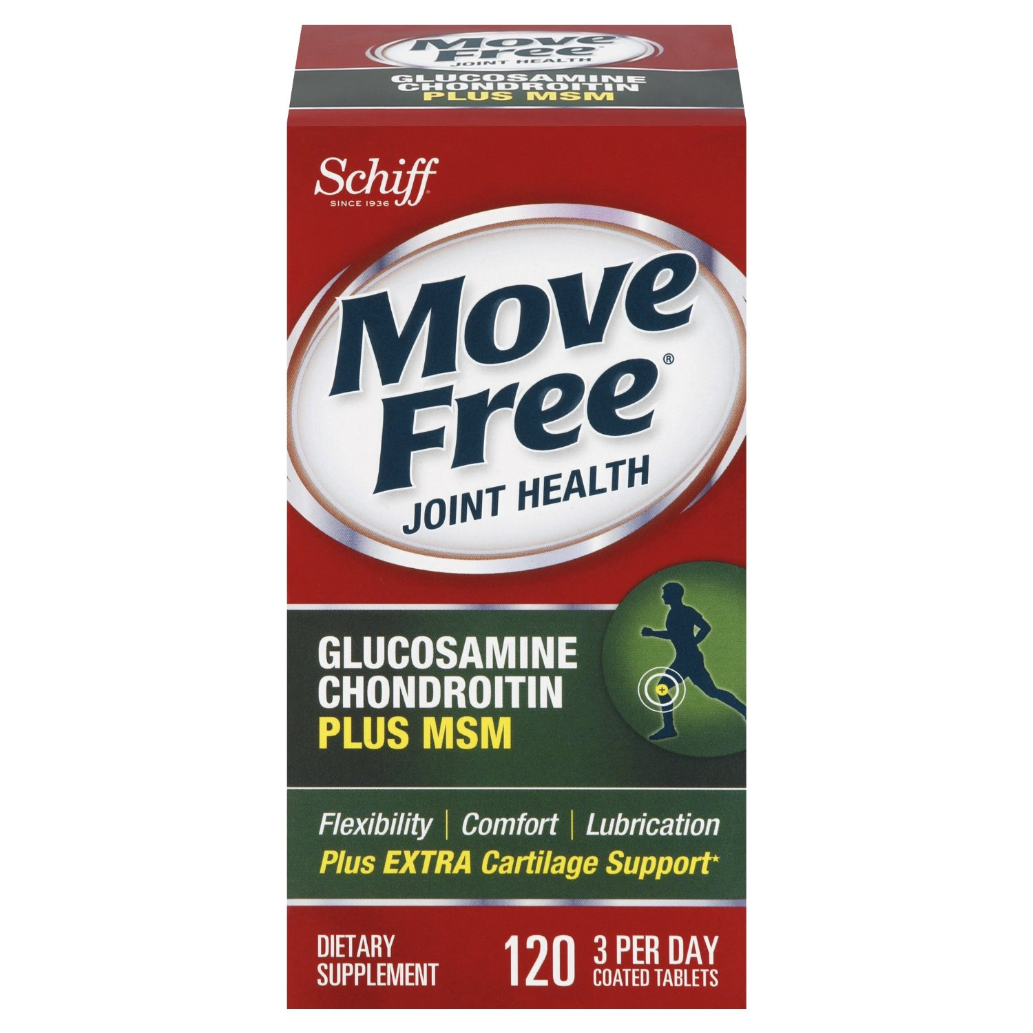 $13.99 Move Free Glucosamine Chondroitin MSM and Hyaluronic Acid Joint Supplement, 120 Count