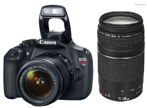 $399.99 Canon EOS Rebel T5 Digital SLR 18MP Camera with 18-55mm  75-300mm Lenses