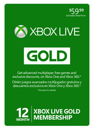 $39.99 Microsoft Xbox Live 12-Month Gold Membership Card (Digital Delivery)