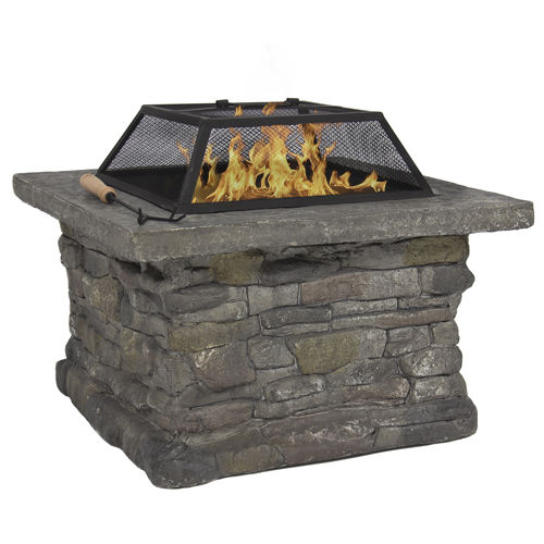"$149.99 Elegant 29"" Outdoor Patio Firepit w/ Iron Fire Bowl, Stone Base, & Mesh Cover"