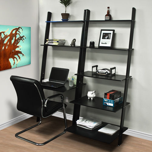 Leaning Shelf Bookcase With Computer Desk