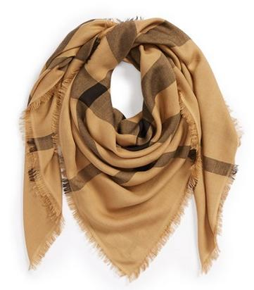 $221.25  Burberry Overdyed Chambray Check Square Scarf