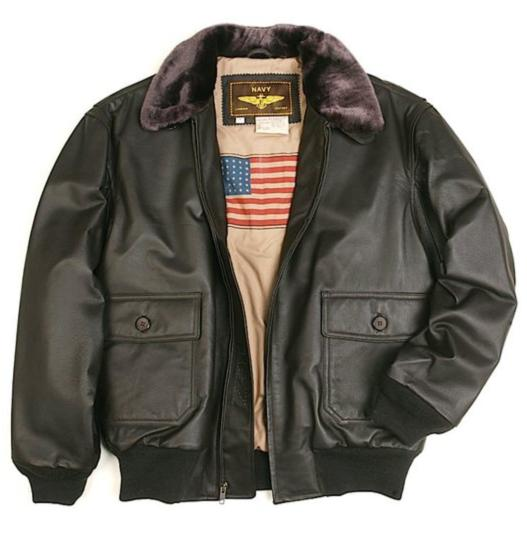 $99.99 Landing Leathers Men's Navy G-1 Leather Flight Bomber Jacket