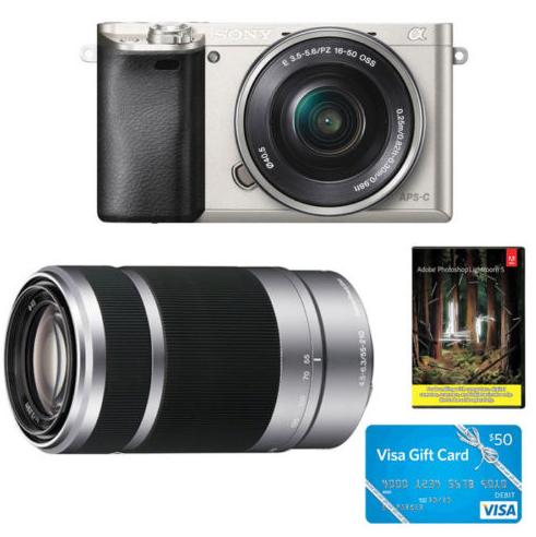 Sony Alpha a6000 24.3MP Camera With 16-50&55-210 Lens, $50 Visa Gift Card, Adobe PSE 12