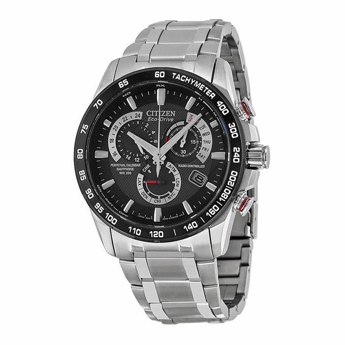 $269 Citizen Eco Drive Black Dial Chronograph Stainless Steel Mens Watch AT4008-51E