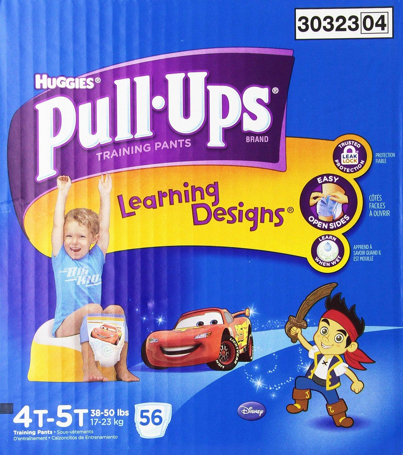 $15.72 Huggies Pull-Ups Training Pants with Learning Designs for Boys, 4T-5T, 56 Count