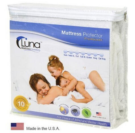 Queen Size Luna Premium Hypoallergenic 100% Waterproof Mattress Protector - 10 Year Warranty - Made In The USA