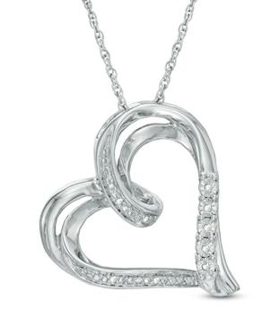 Diamond Accent Tilted Ribbon Heart Pendant in Sterling Silver