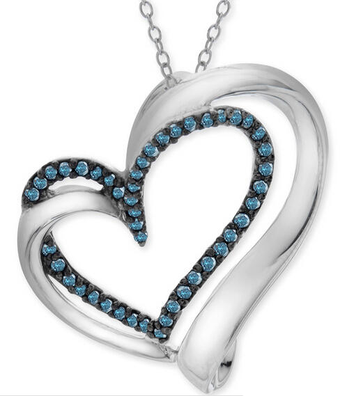1/5 ct Blue Diamond Heart Pendant Only $99 Plus Free Shipping