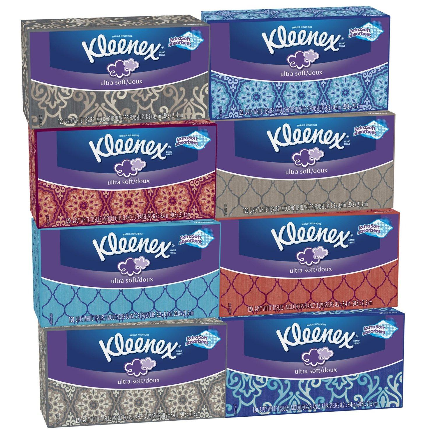 $9.43 + Free Shipping Kleenex Ultra Soft Tissues, White, 120ct, Pack of 8