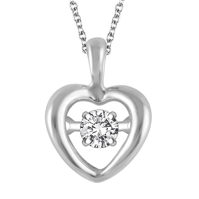 Silver Heart Pendant with Dazzling Brilliant Cut Round Diamond @ Kevin Jewelers Inc.