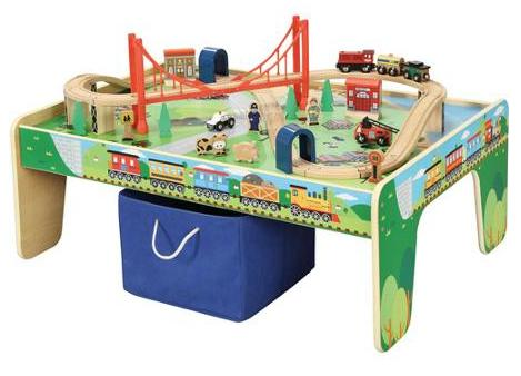 Wooden 50-Piece Train Set with Small Table