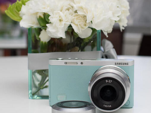 "$319 Samsung NX Mini 20.5MP CMOS Smart WiFi & NFC Compact Interchangeable Lens Digital Camera with 9mm Lens and 3"" Flip Up LCD Touch Screen (Mint Green)"
