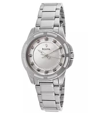Bulova Women's White Diamond White MOP Dial Stainless Steel Watch 96P144