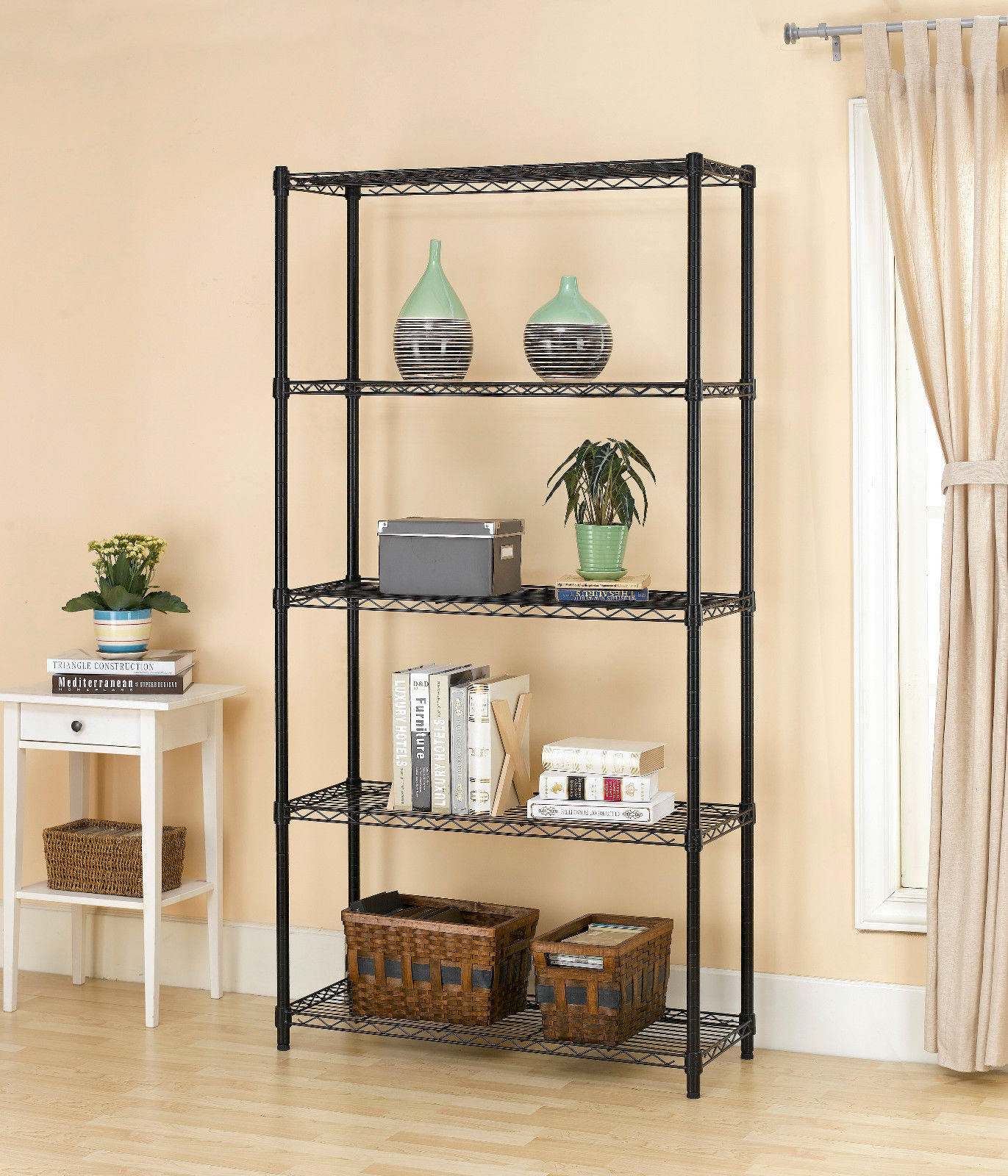 $44.99 Chrome/Black 5-Shelf Home Office Steel Wire Shelving 72