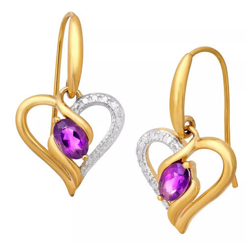 3/4 ct Amethyst Heart Earrings with Diamonds Only $19 Plus Free Shipping