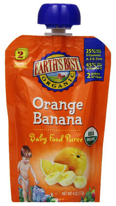 $5.99 Earth's Best Organic Stage 2, Orange & Banana, 4 Ounce Pouch (Pack of 12)